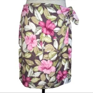 Tommy Bahama Hibiscus Flower Silk Wrap Skirt 12/14